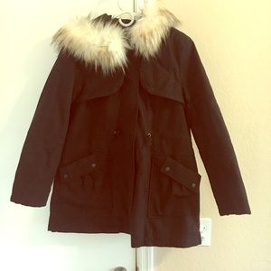 Black coat with faux fur lined hood